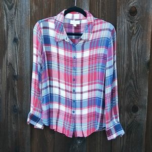OLIVE & OAK Plaid Button-Up Shirt Size L